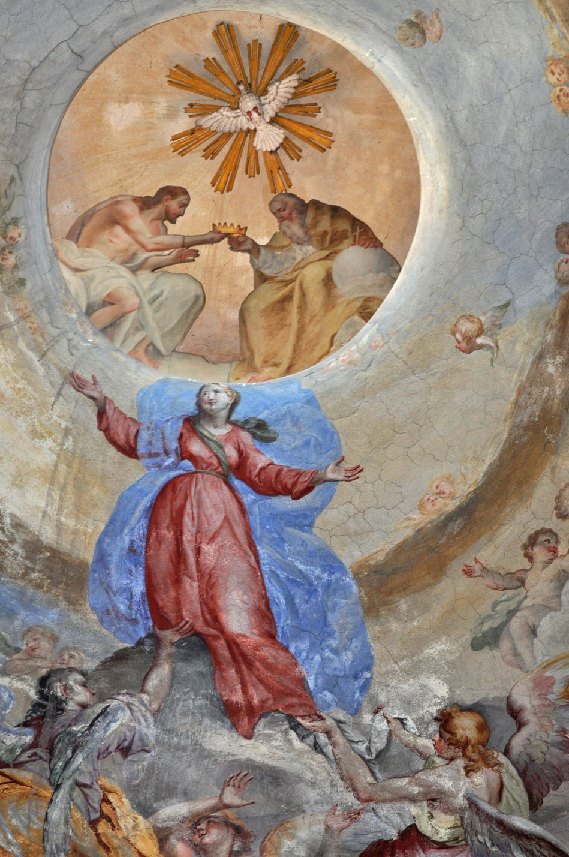 Cupola, particolare della Vergine assunta