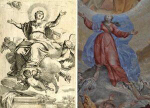 Confronto tra due immagini dell'Assunta trasportata in cielo dagli angeli