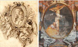 Confronto tra immagini di un dipinto con cornice ovale sorretto da due angeli