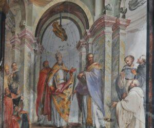Luca Rossetti, Disputa attorno a dogmi mariani, 1753, chiesa di Santa Croce, Ivrea
