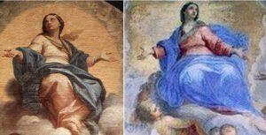 Confronto del dipinto di Maratta con la Madonna del salone vescovile di Ivrea