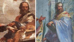 Confronto tra il San Crisostomo di Maratta ed il San Flaviano nella chiesa di Santa Croce