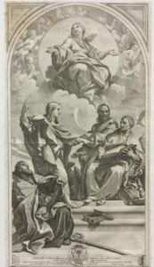 Riproduzione a stampa della Disputa sulla Immacolata Concezione di Carlo Maratta, su incisione di Nicolas Dorigny 1687