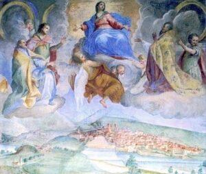 Luca Rossetti, La Vergine Assunta ed i santi protettori sulla città di Ivrea, 1751 ca. Palazzo Vescovile, Ivrea
